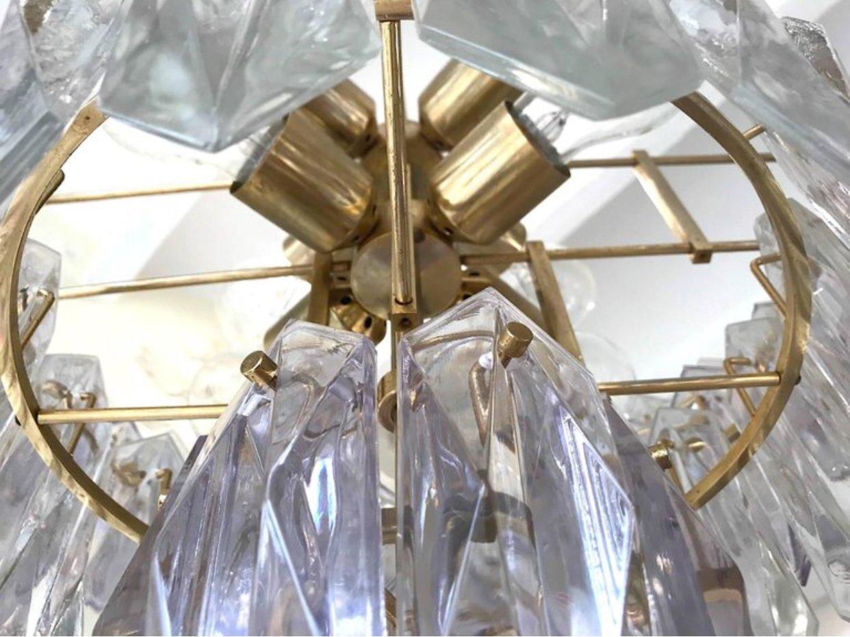deutscher vintage kronleuchter aus glas mit vergoldetem rahmen von kinkeldey 1960er bei pamono. Black Bedroom Furniture Sets. Home Design Ideas
