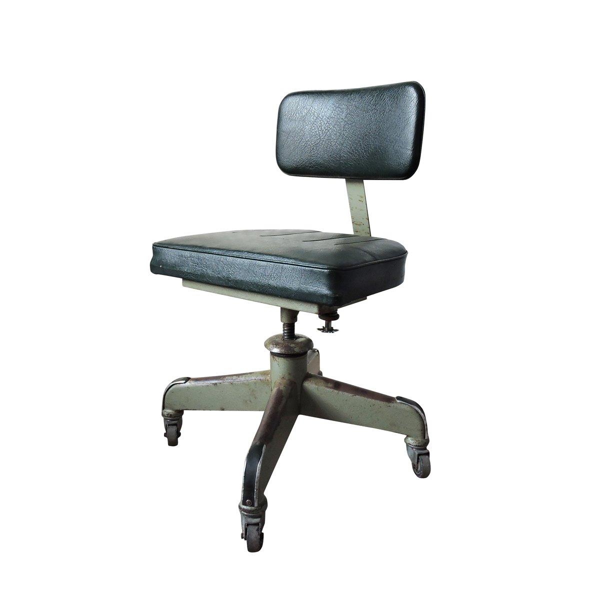 verstellbarer vintage leder schreibtischstuhl bei pamono kaufen. Black Bedroom Furniture Sets. Home Design Ideas