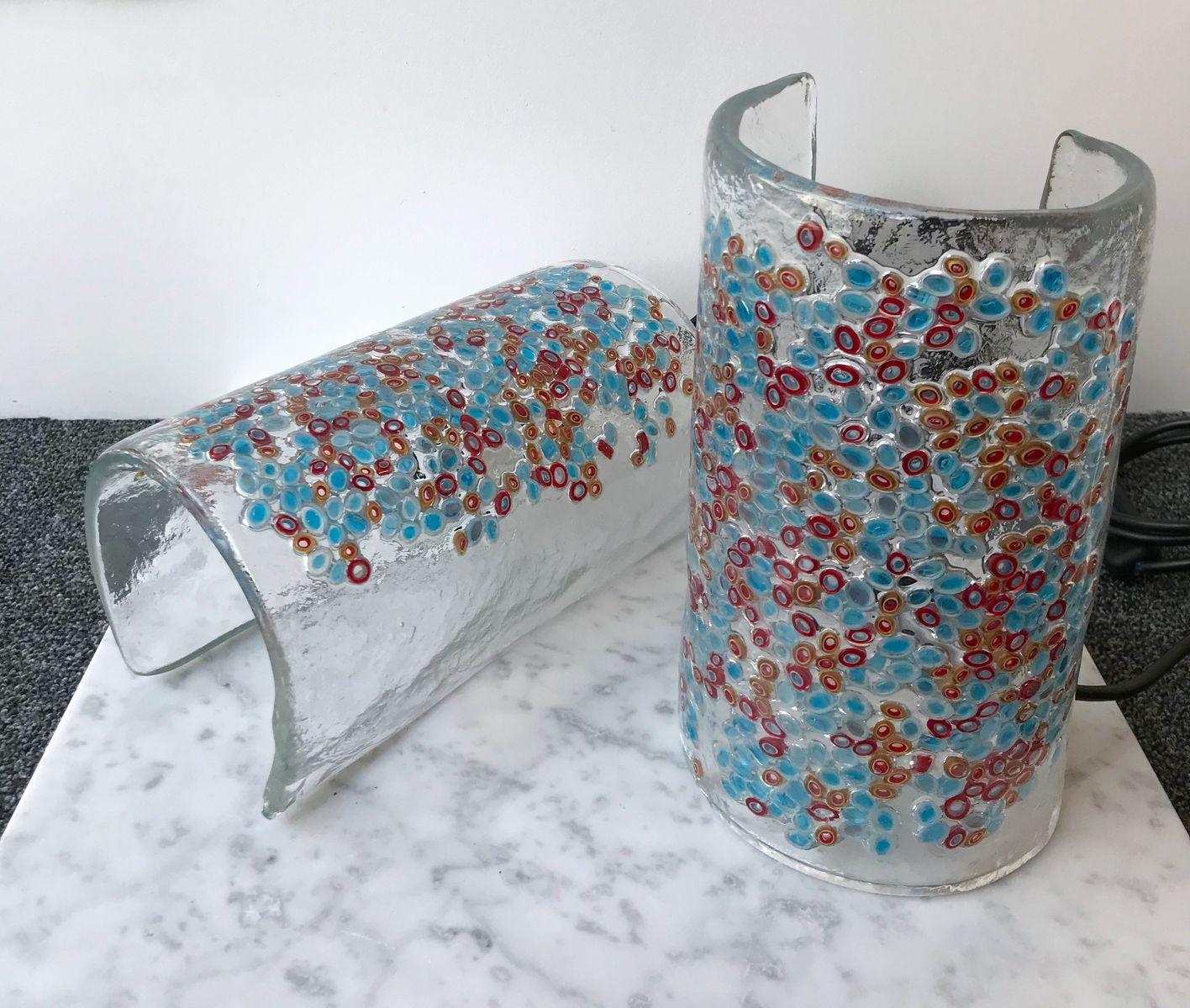 Italienische Glas Lampen von Barbini, 1980er, 2er Set