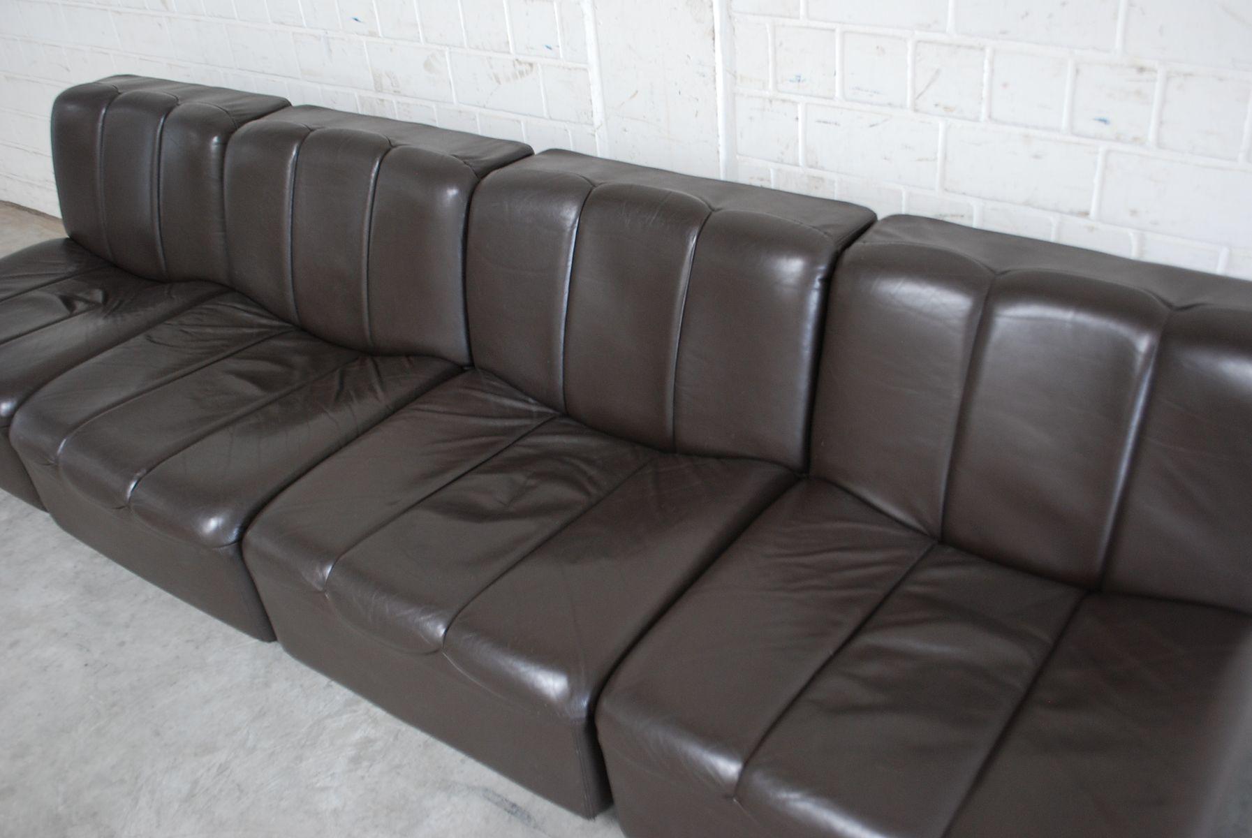 canap modulaire vintage en cuir brun 1970s en vente sur pamono. Black Bedroom Furniture Sets. Home Design Ideas