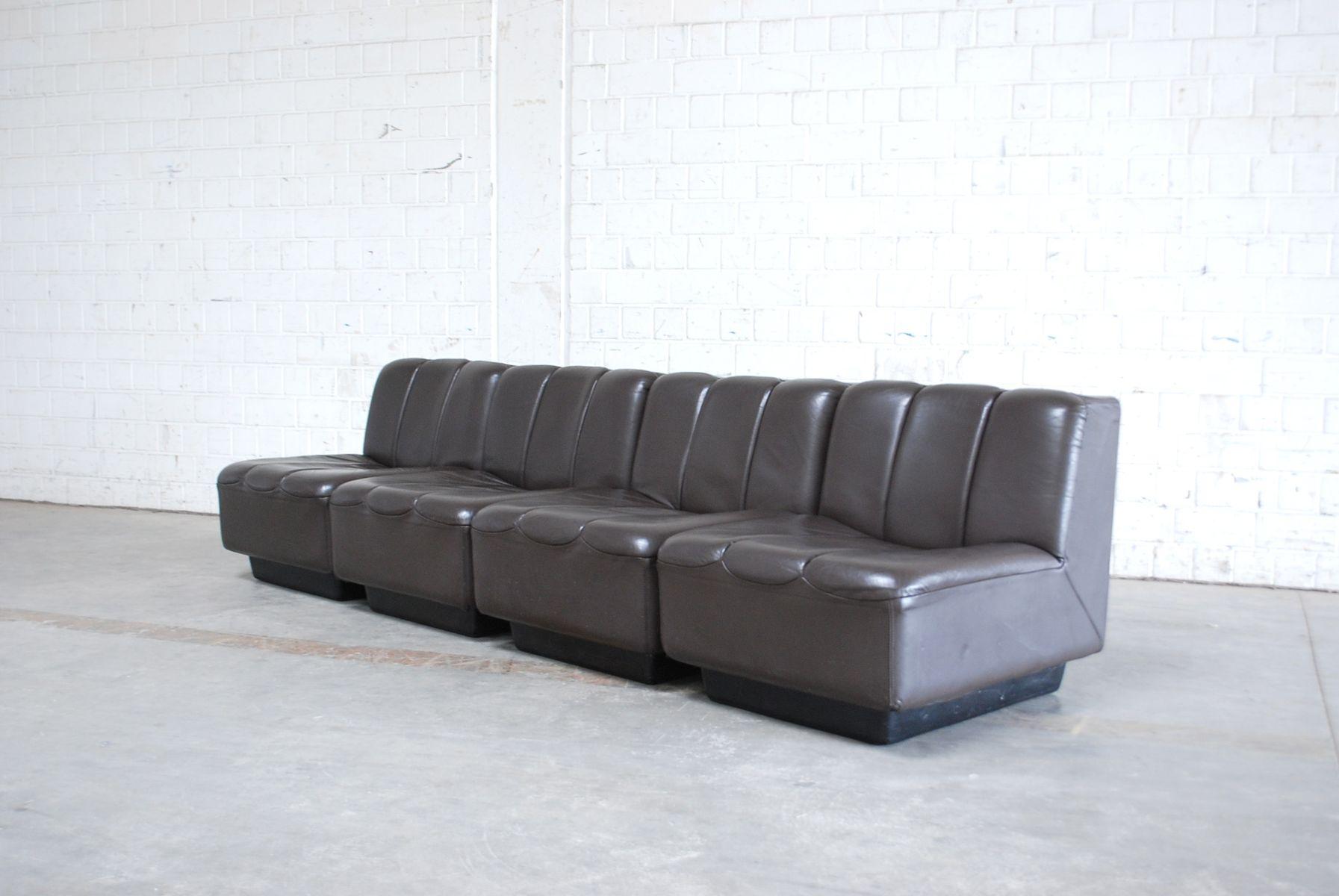 vintage modular brown leather sofa 1970s for sale at pamono. Black Bedroom Furniture Sets. Home Design Ideas