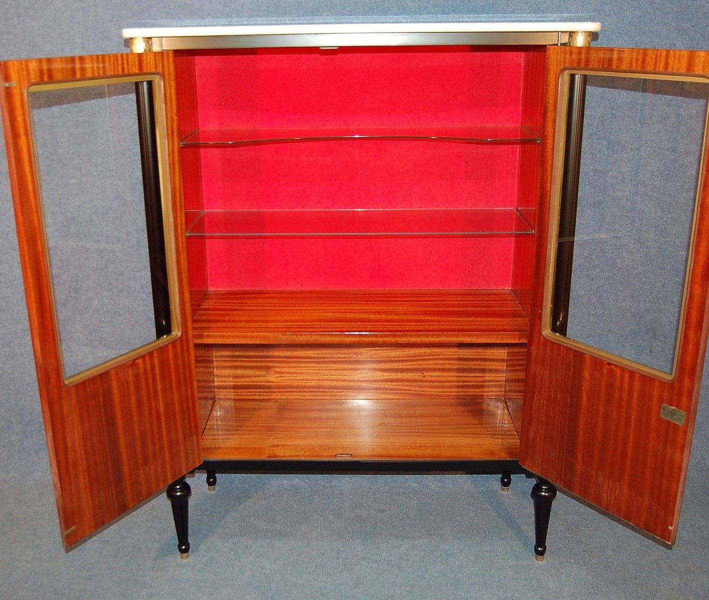 meuble vintage en acajou avec plateau en marbre france en vente sur pamono. Black Bedroom Furniture Sets. Home Design Ideas
