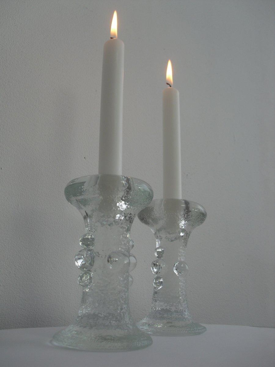 bougeoirs en verre cristal par staffan gellerstedt pour pukeberg glasbruk 1970s set de 2 en. Black Bedroom Furniture Sets. Home Design Ideas