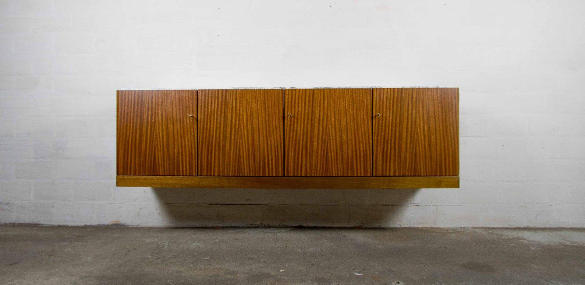 Hängendes Marmor & Walnuss Sideboard von Jos de Mey für Van den Berghe...