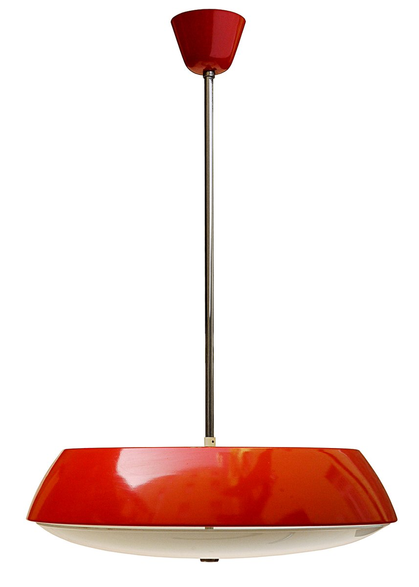 Red pendant light by josef hurka for napako 1960s