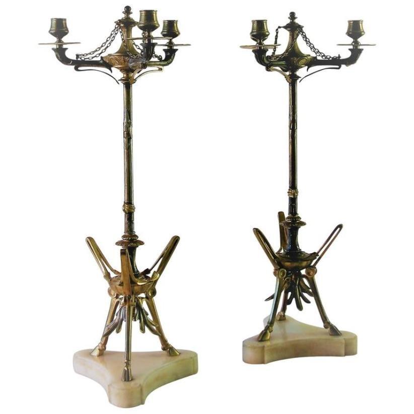 Antike Bronze Kerzenständer von Victor Paillard, 2er Set