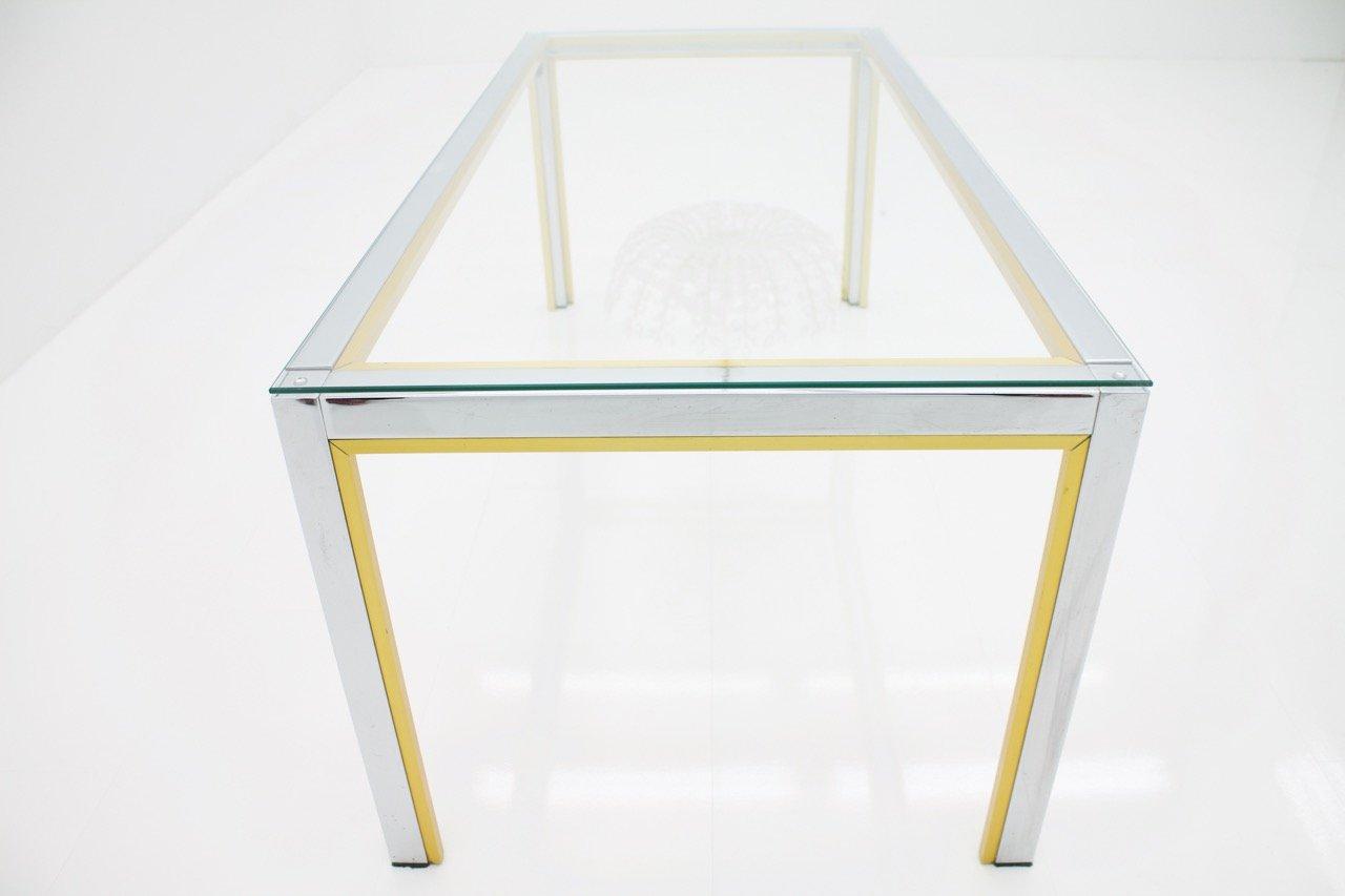table basse en chrome laiton et verre par renato zevi pour romeo rega 1970s en vente sur pamono. Black Bedroom Furniture Sets. Home Design Ideas