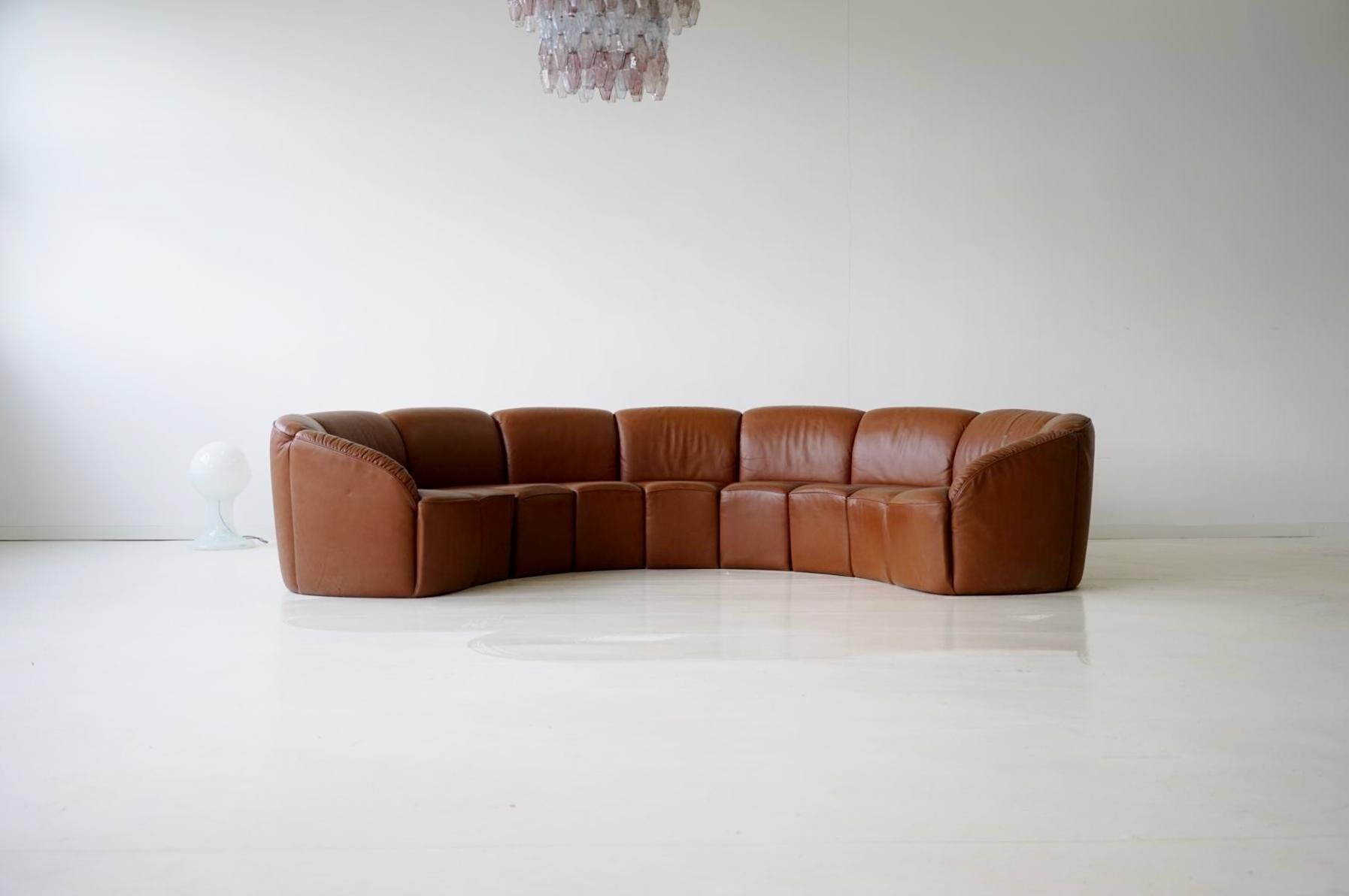 Vintage Curved Leather Sofa by Walter Knoll, 1960s for ...
