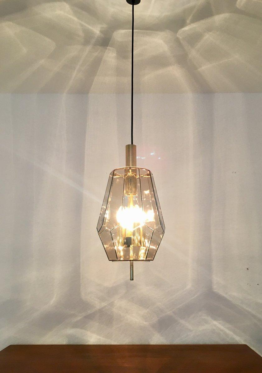 lampe suspension en verre fum et laiton de limburg 1960s en vente sur pamono. Black Bedroom Furniture Sets. Home Design Ideas