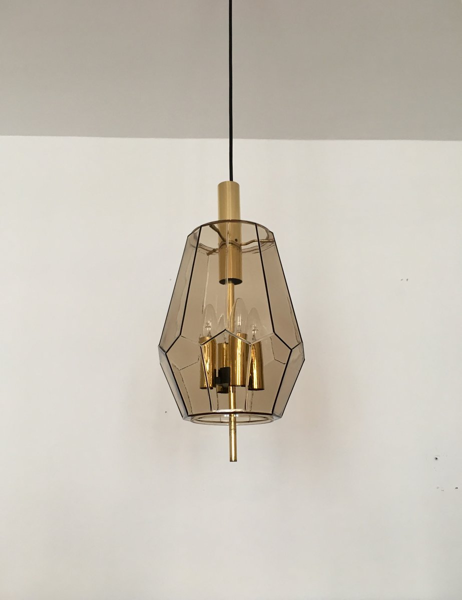 lampe suspension en verre fum et laiton de limburg. Black Bedroom Furniture Sets. Home Design Ideas