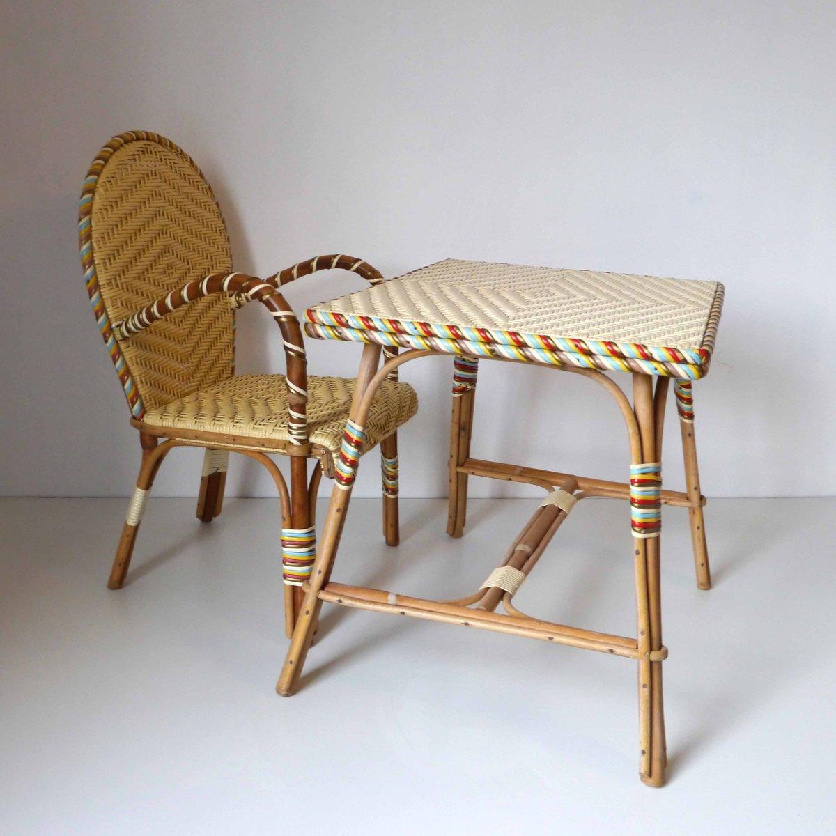 franz sischer vintage rattan kinderschreibtisch und stuhl bei pamono kaufen. Black Bedroom Furniture Sets. Home Design Ideas