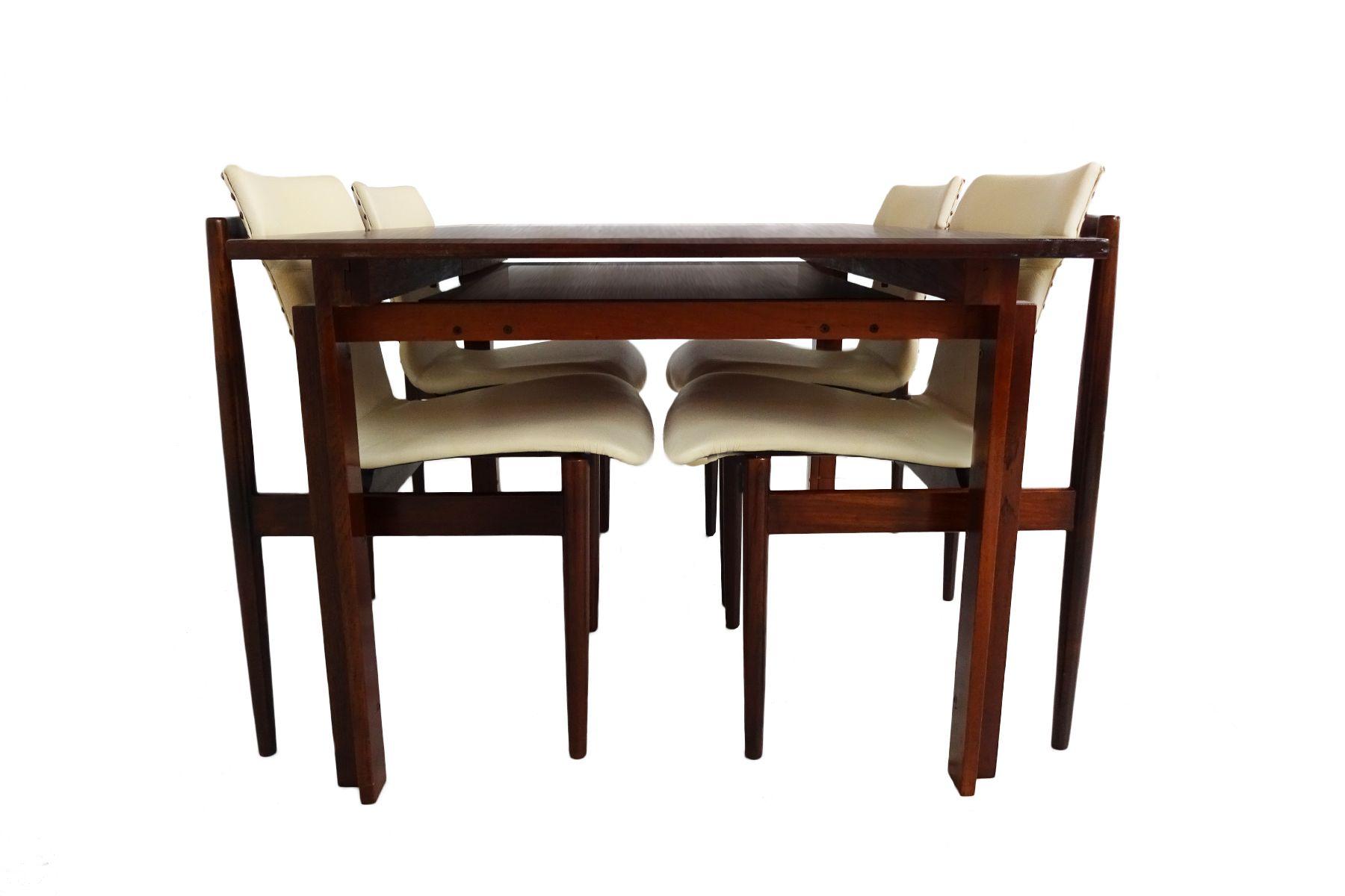 teak leder esszimmer set von inger klingenberg f r france s n france daverkosen 1960er. Black Bedroom Furniture Sets. Home Design Ideas