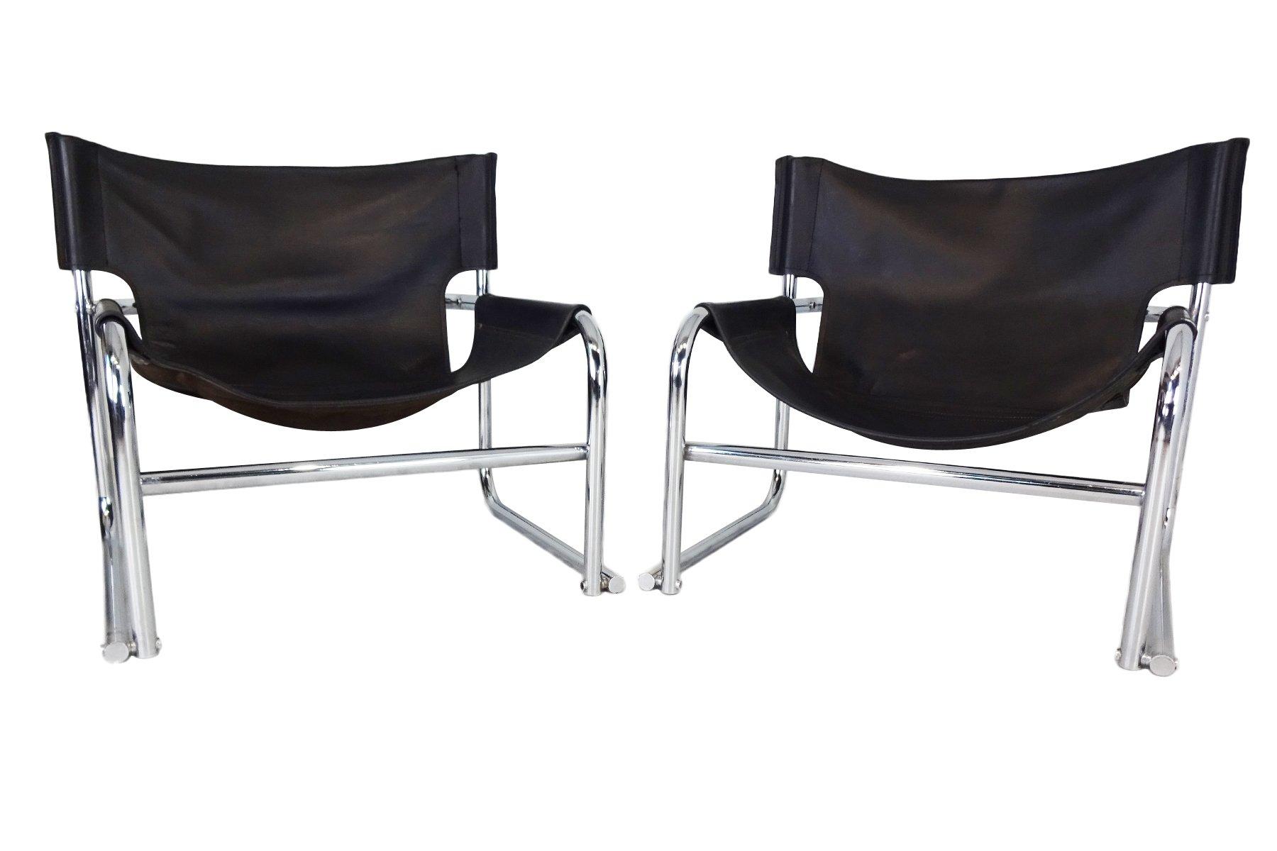 Schwarze T1 Leder Sling Stühle von Rodney Kinsman für OMK, 1969, 2er S...