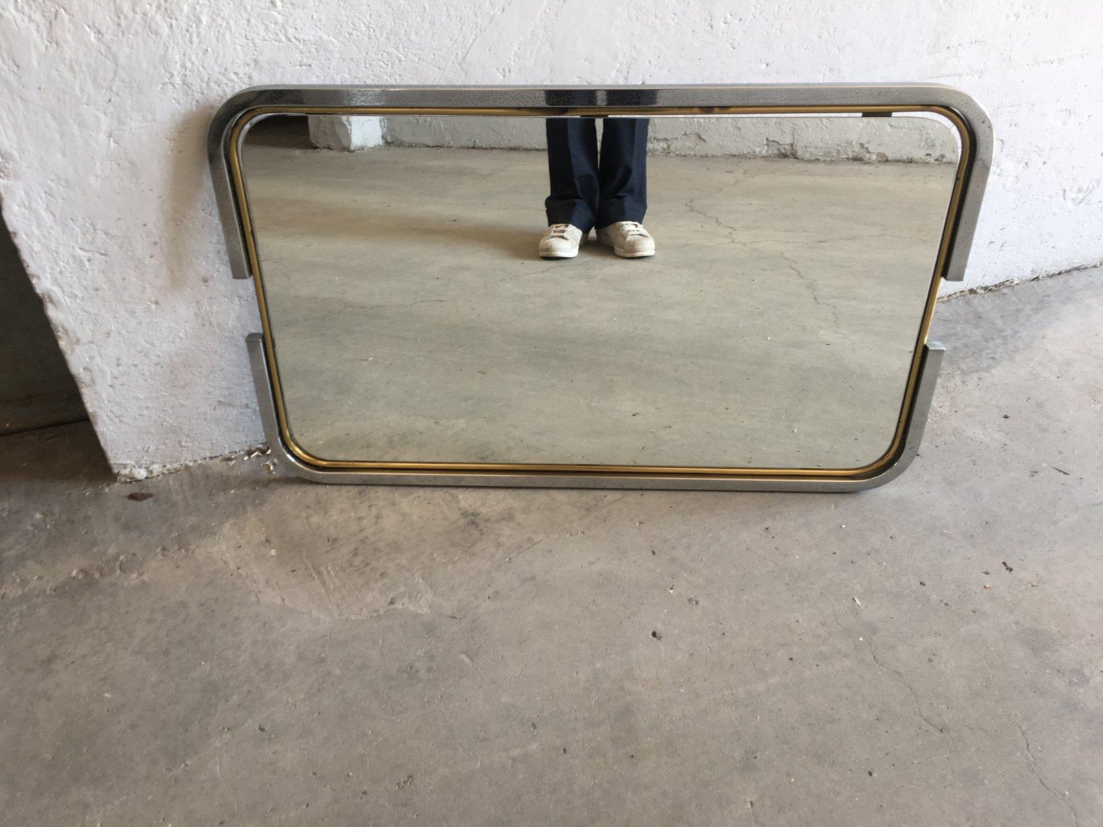 Specchio con cornice in ottone e placcato in cromo italia for Specchio unghia anni 70