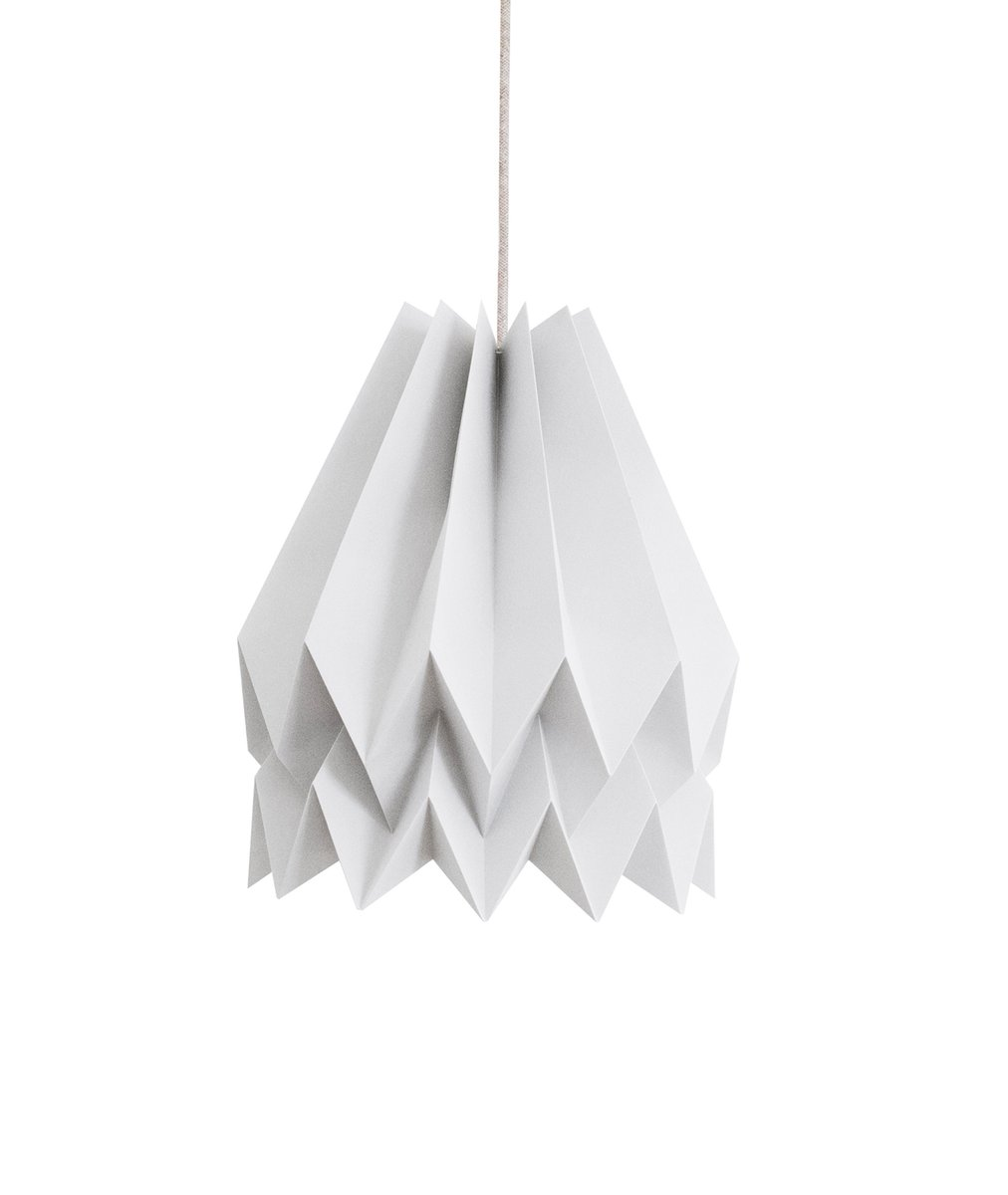 Hellgraue Origami Lampe von Orikomi