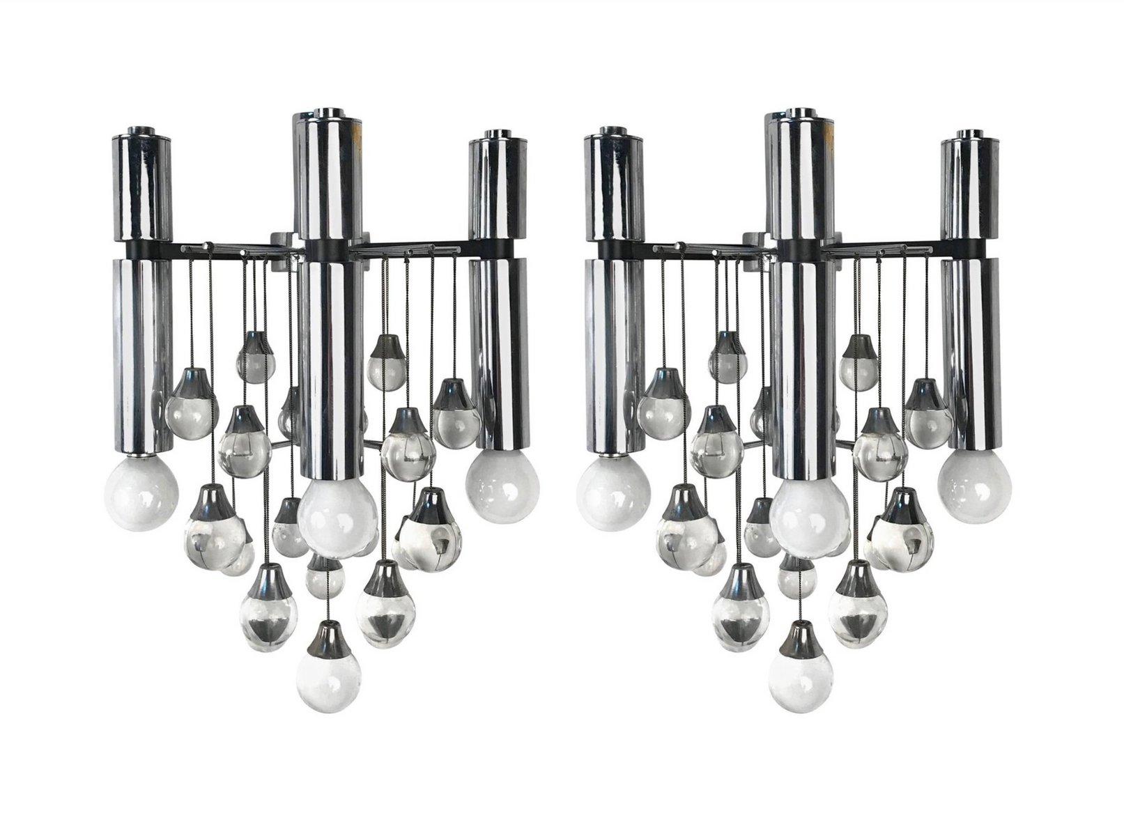 3-Leuchten Wandleuchten aus Chrom & Glas von Gaetano Sciolari, 1960er,...