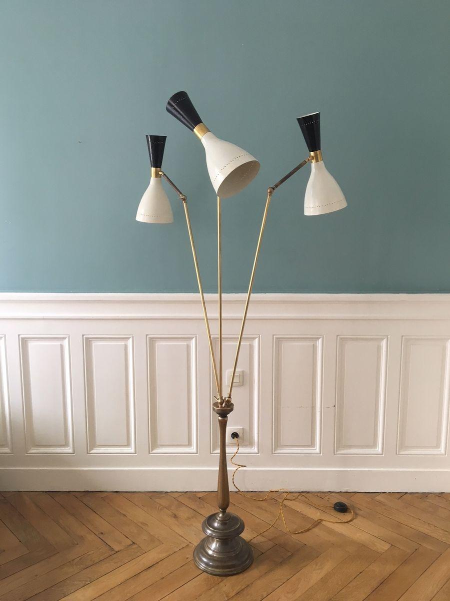 Italienische Vintage Stehlampe mit 3 Leuchten, 1950er