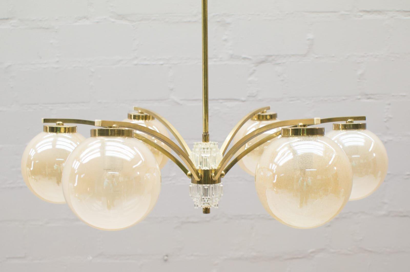 Vergoldeter Vintage Kronleuchter mit 6 Leuchten, 1960er
