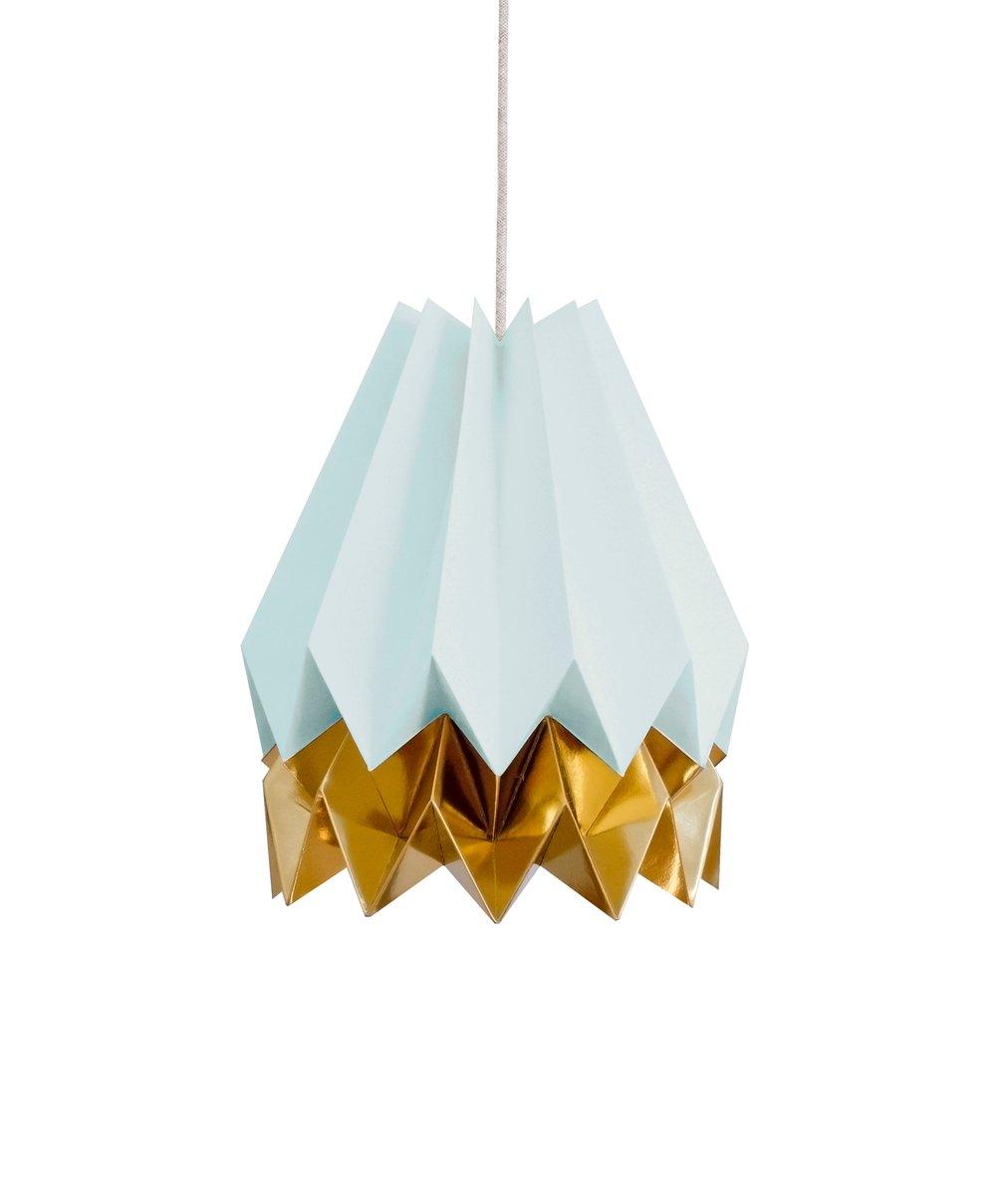 Mintblaue Origami Lampe mit goldenem Streifen von Orikomi
