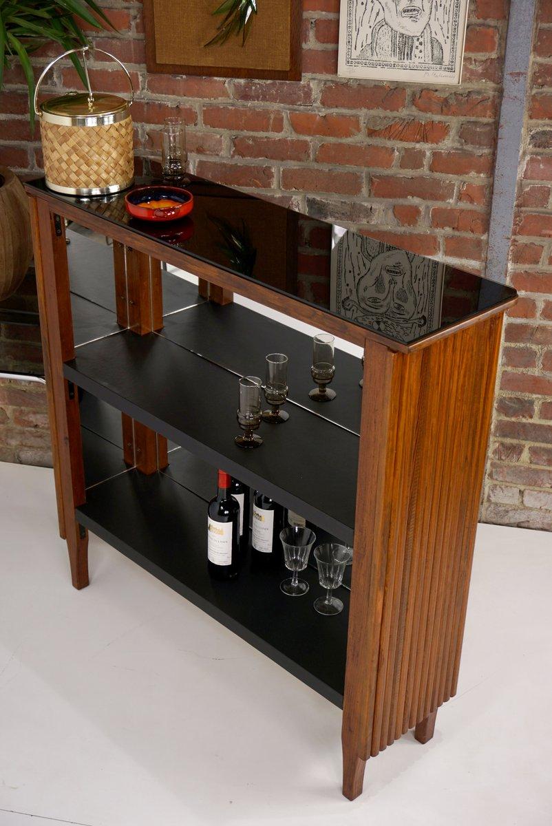 Mobile bar vintage in vetro nero e similpelle in vendita su pamono - Mobile bar vintage ...
