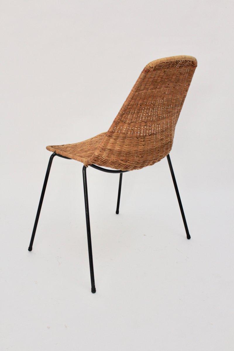 chaise mid century en osier par gian franco legler 1951 en vente sur pamono. Black Bedroom Furniture Sets. Home Design Ideas