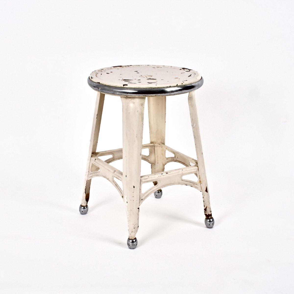 tabouret industriel en fer peint et acier chrom france 1940s en vente sur pamono. Black Bedroom Furniture Sets. Home Design Ideas