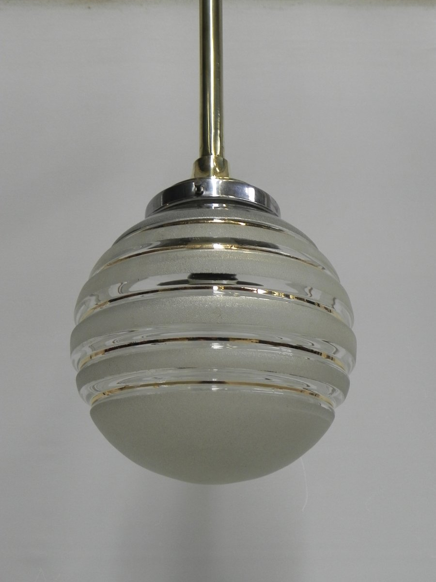 art deco hanging lamp with glass globe brass armature for sale at pamono. Black Bedroom Furniture Sets. Home Design Ideas