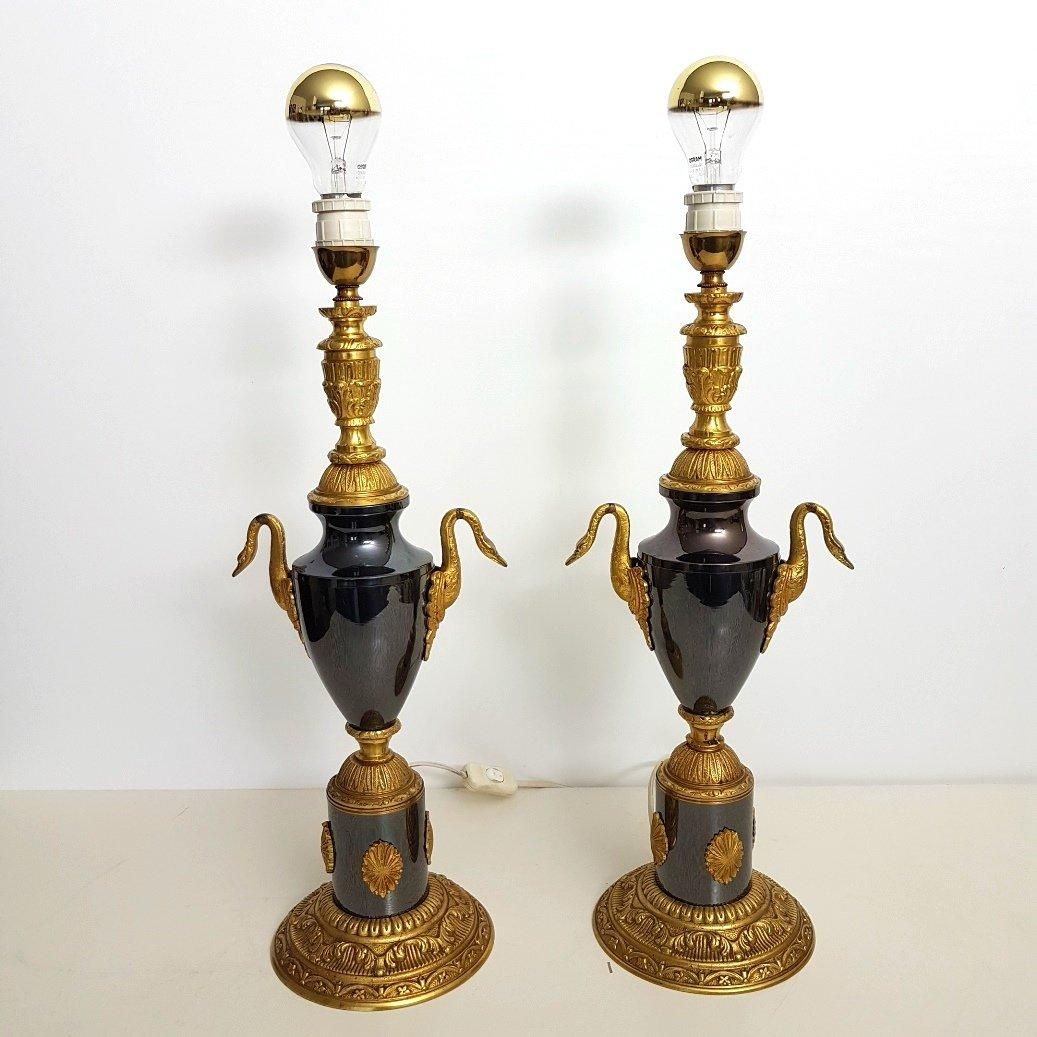 Schwarze Bronze Tischlampen mit Schwänen, 1960er, 2er Set