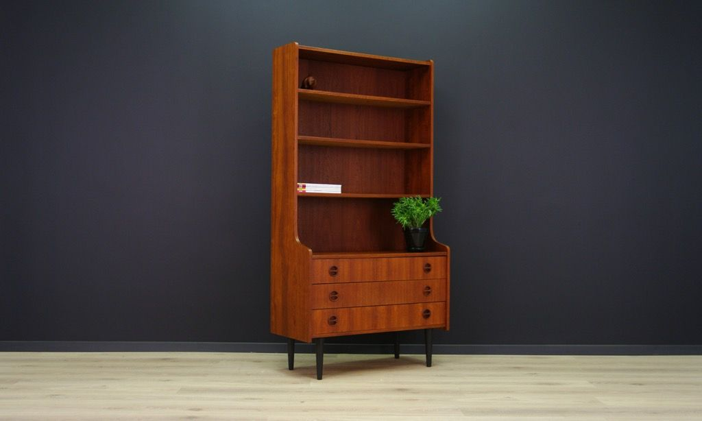 biblioth que avec 3 tiroirs en teck plaqu 1970s en vente sur pamono. Black Bedroom Furniture Sets. Home Design Ideas