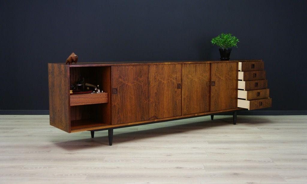 palisander furnier sideboard mit schiebet ren und schubladen von fars m bler 1960er bei pamono. Black Bedroom Furniture Sets. Home Design Ideas