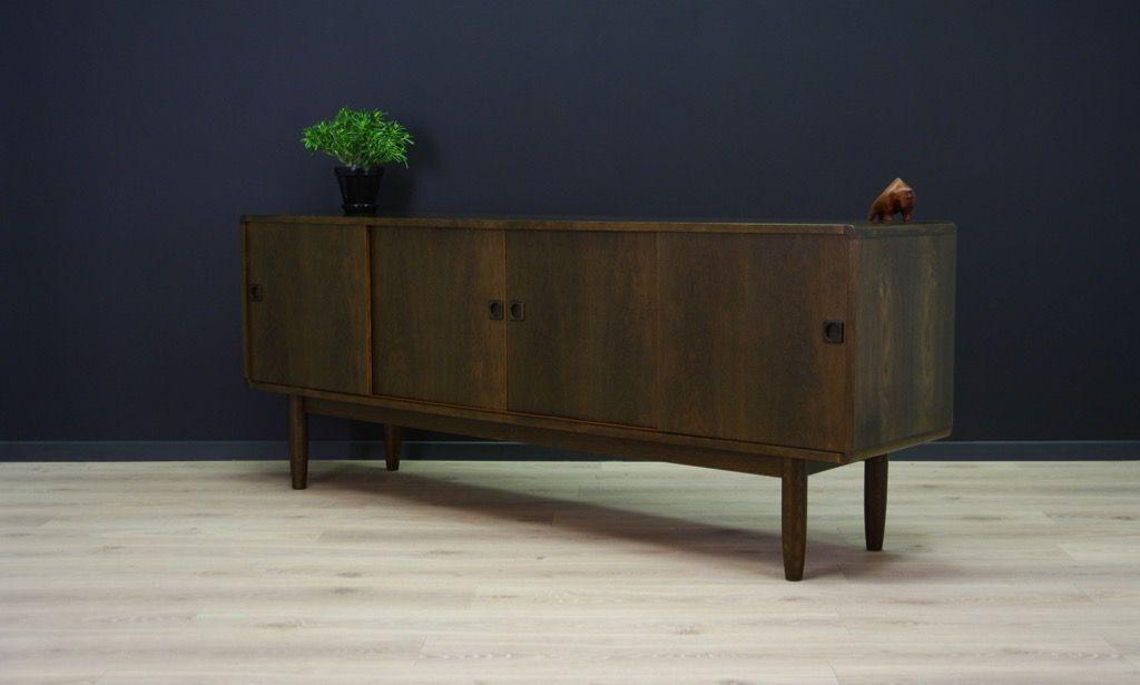 enfilade en ch ne plaqu avec portes coulissantes 1960s en vente sur pamono. Black Bedroom Furniture Sets. Home Design Ideas