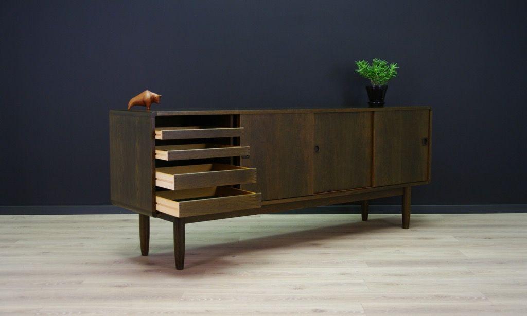 eichenholz furnier sideboard mit schiebet ren 1960er bei pamono kaufen. Black Bedroom Furniture Sets. Home Design Ideas