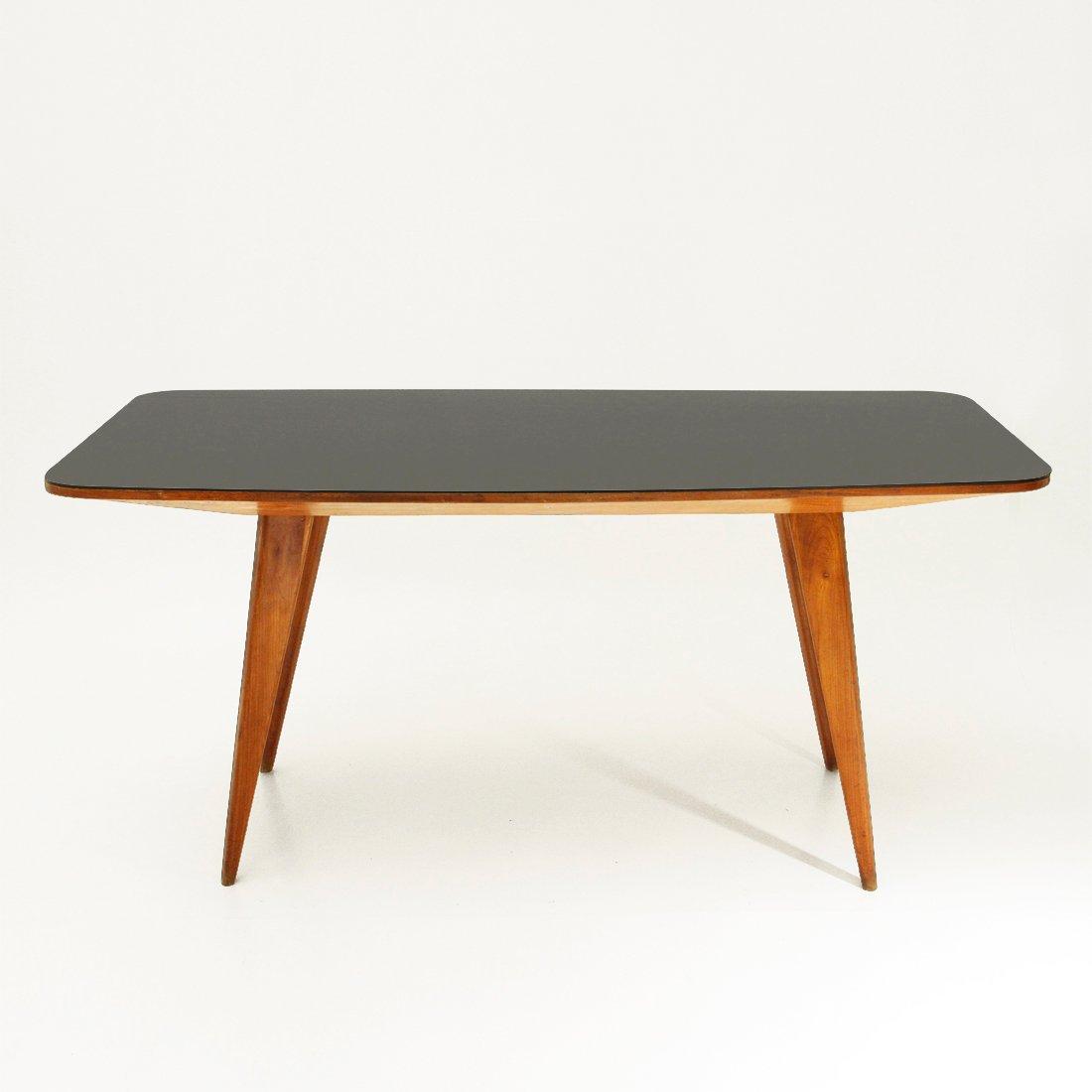 table de salle manger en bois avec plateau en verre noir italie 1950s en vente sur pamono. Black Bedroom Furniture Sets. Home Design Ideas