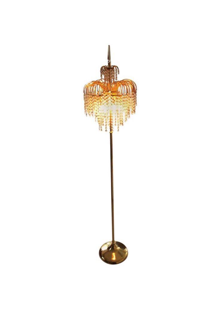 Italienische Murano Glas & Kristall Stehlampe mit vergoldetem Rahmen, ...