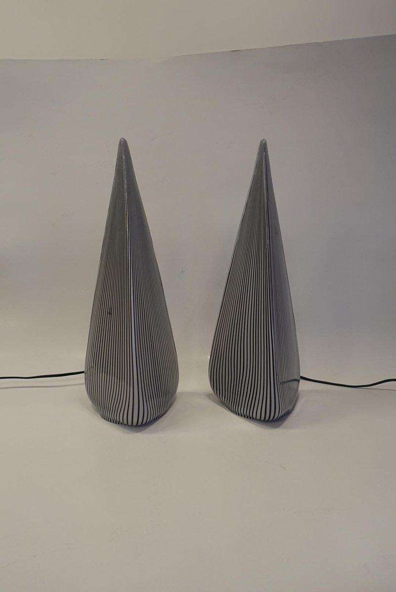 Glas Pyramiden Lampen von Lino Tagliapietra für Vetri Murano, 1982, 2e...