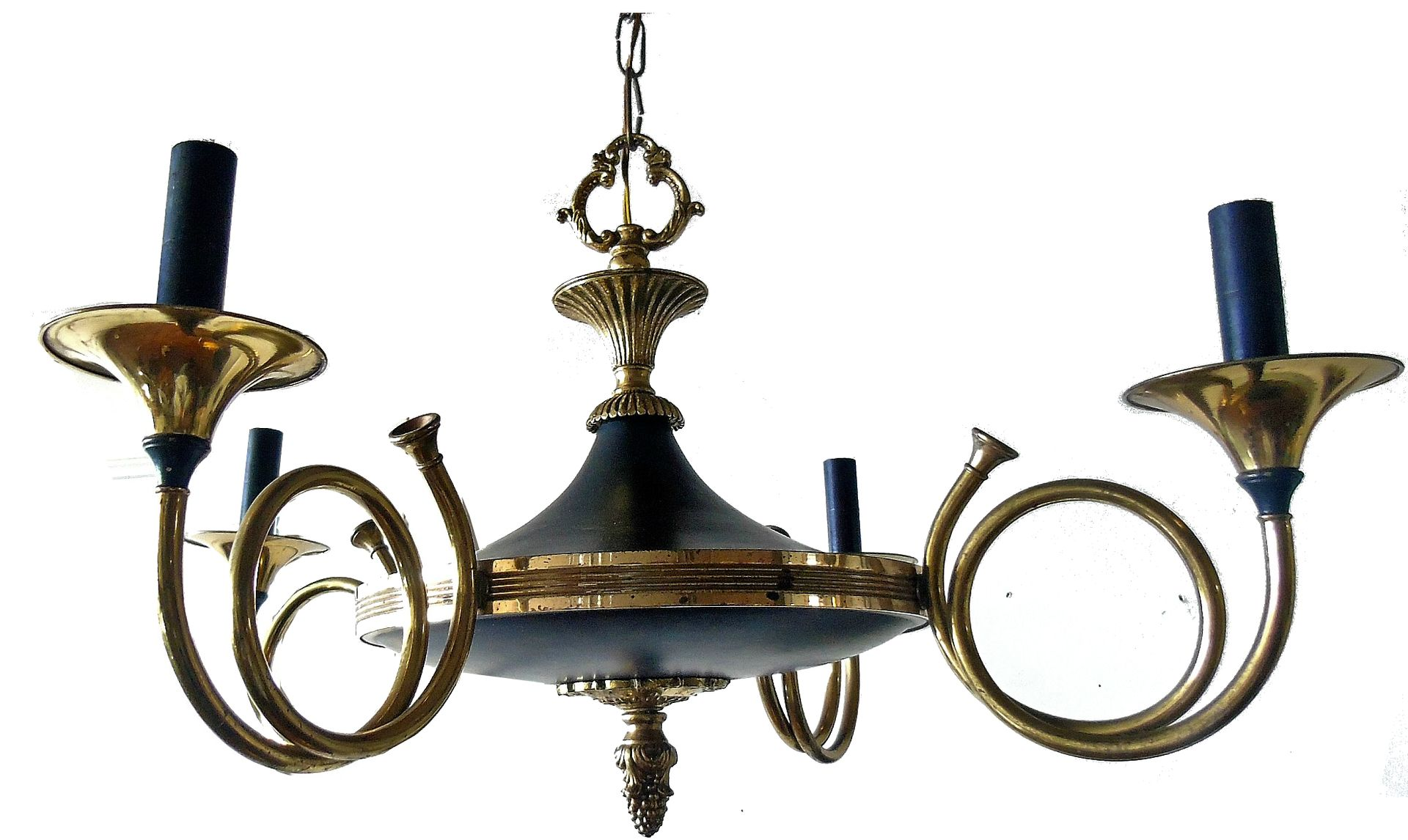 Brass hunting horn chandelier from maison bagues 1940s for sale at brass hunting horn chandelier from maison bagues 1940s aloadofball Images