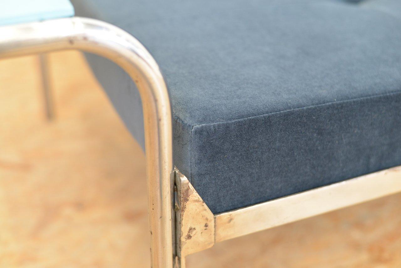 stahlrohr velour tagesbett 1930er bei pamono kaufen. Black Bedroom Furniture Sets. Home Design Ideas