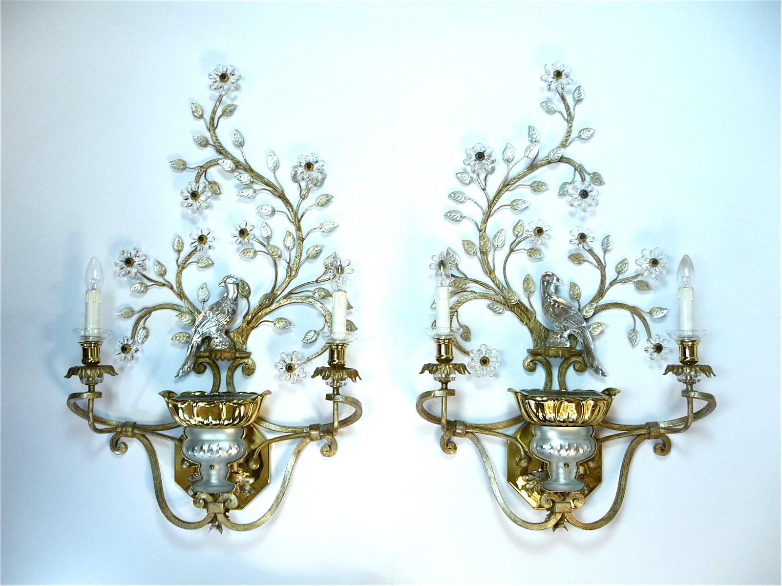 Große vergoldete Metall & Kristallglas Wandleuchten von Maison Baguès,...