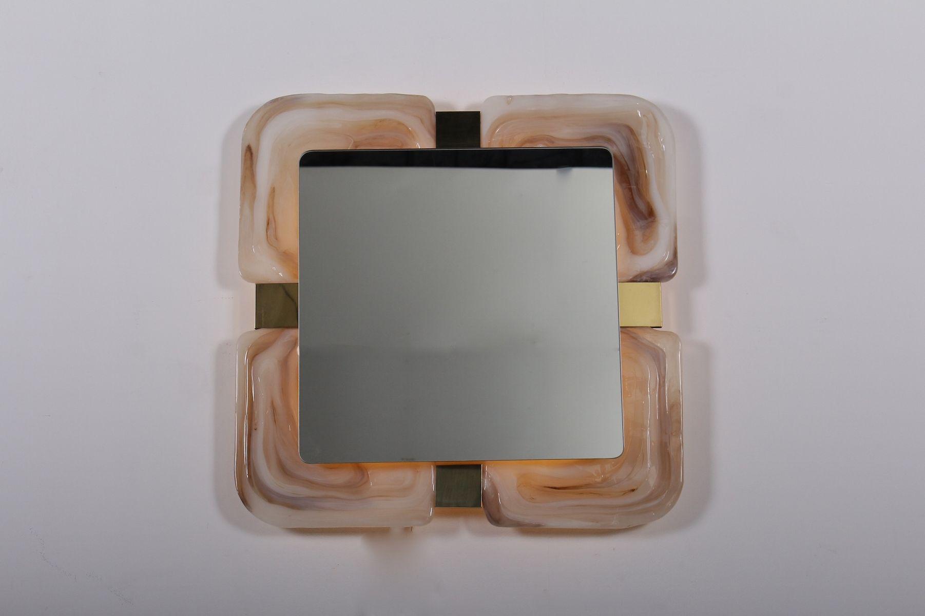 Opaleszenter Spiegel mit Hinterbeleuchtung, 1970er | Bad > Spiegel fürs Bad | Beige | Kunststoff
