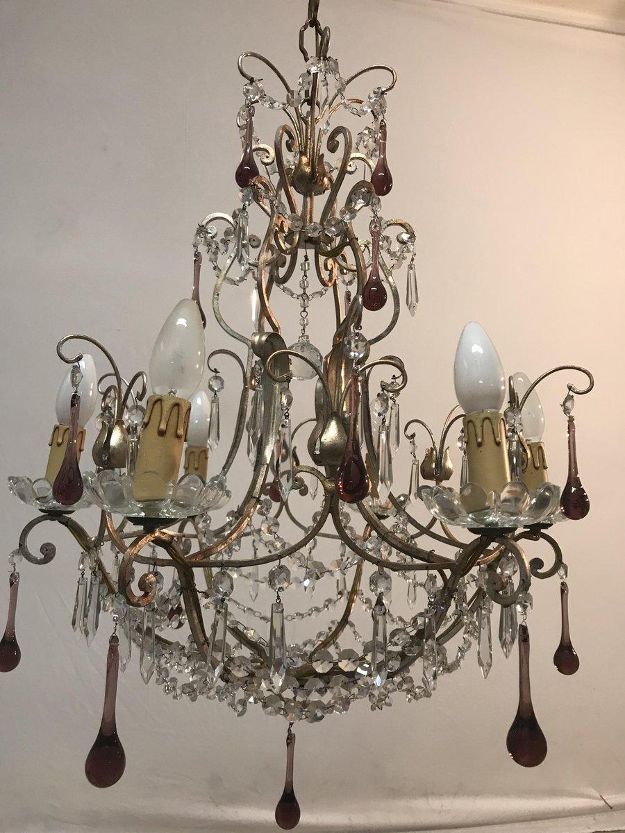 lustre en verre de murano italie 1960s en vente sur pamono. Black Bedroom Furniture Sets. Home Design Ideas