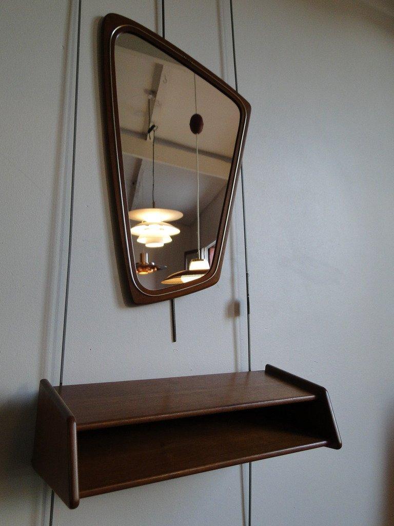flur set mit spiegel und regal von aksel kjersgaard, 1950er