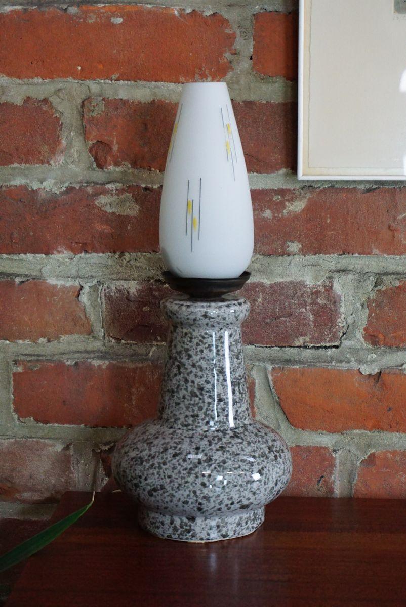 Lampe aus Keramik und weißem Opalglas, 1950er