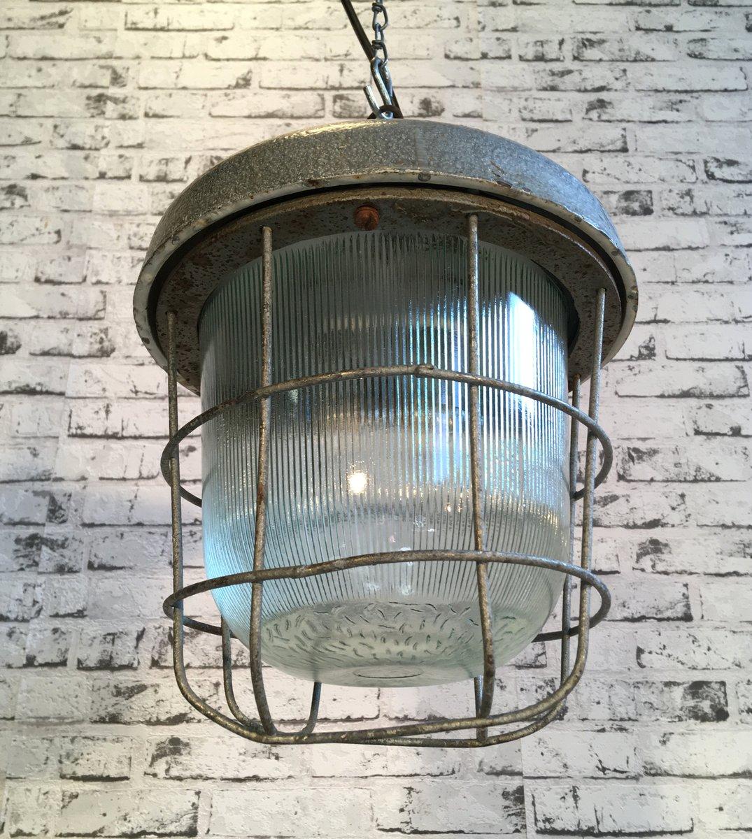 Lampada A Sospensione Vintage Da Fabbrica Anni 39 60 In
