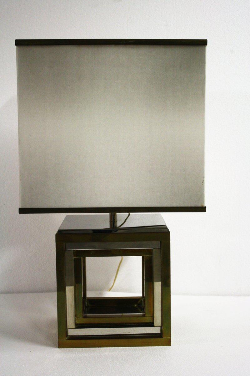 Große Messing & Chrom Tischlampe von Roemo Rega, 1970er