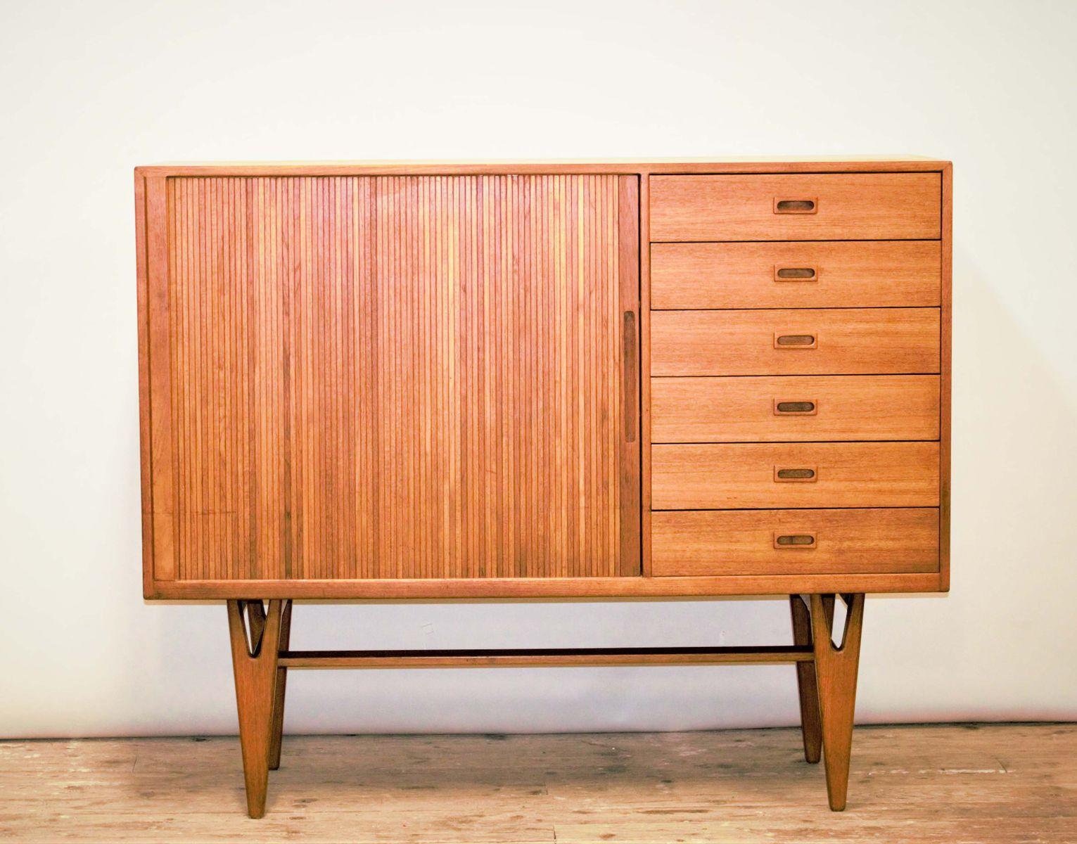 Hohes Vintage Sideboard aus Teakholz mit Tambour Tür und 6 Schubladen