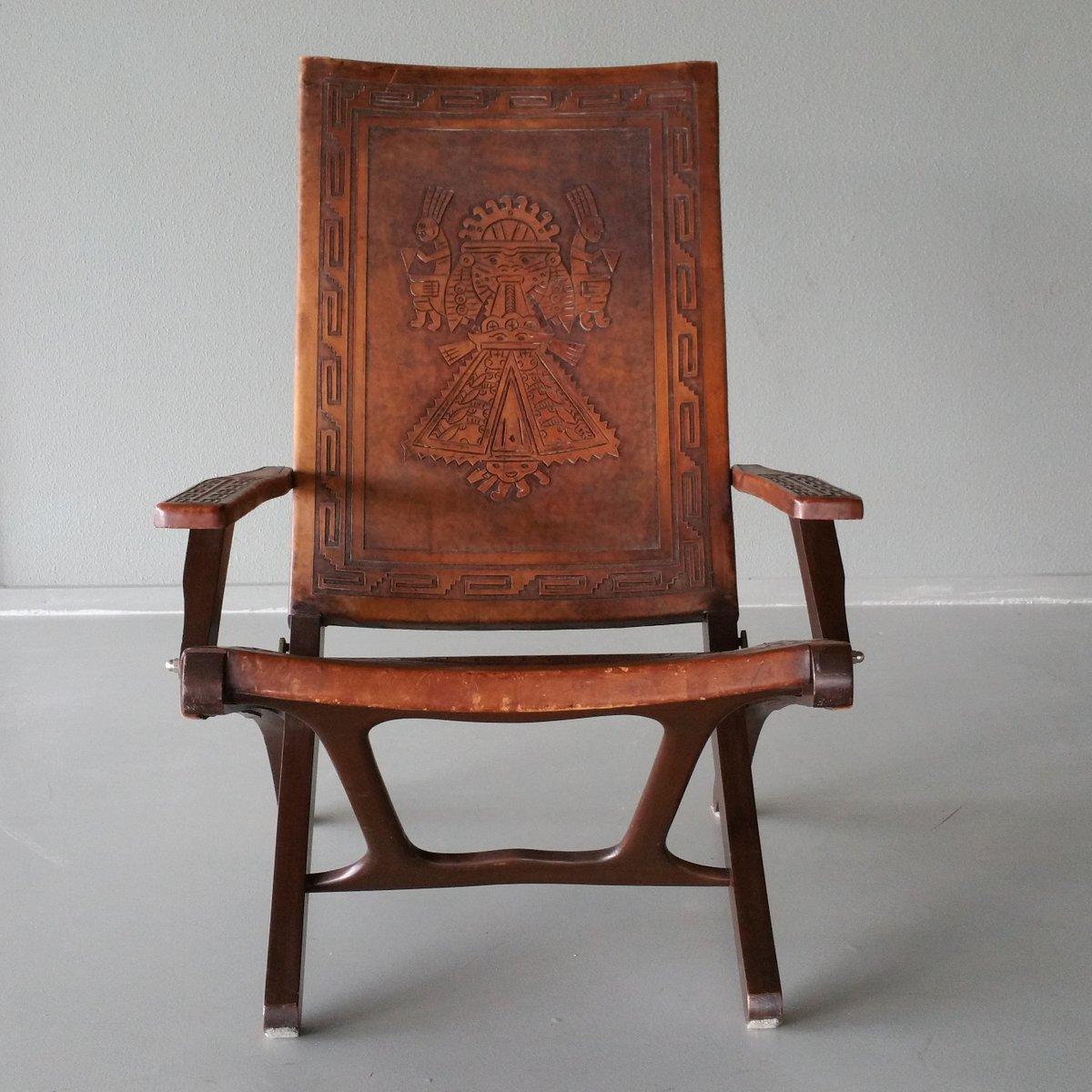 Leather Wood Folding Chair By Angel Pazmino For Muebles De Estilo 1960s