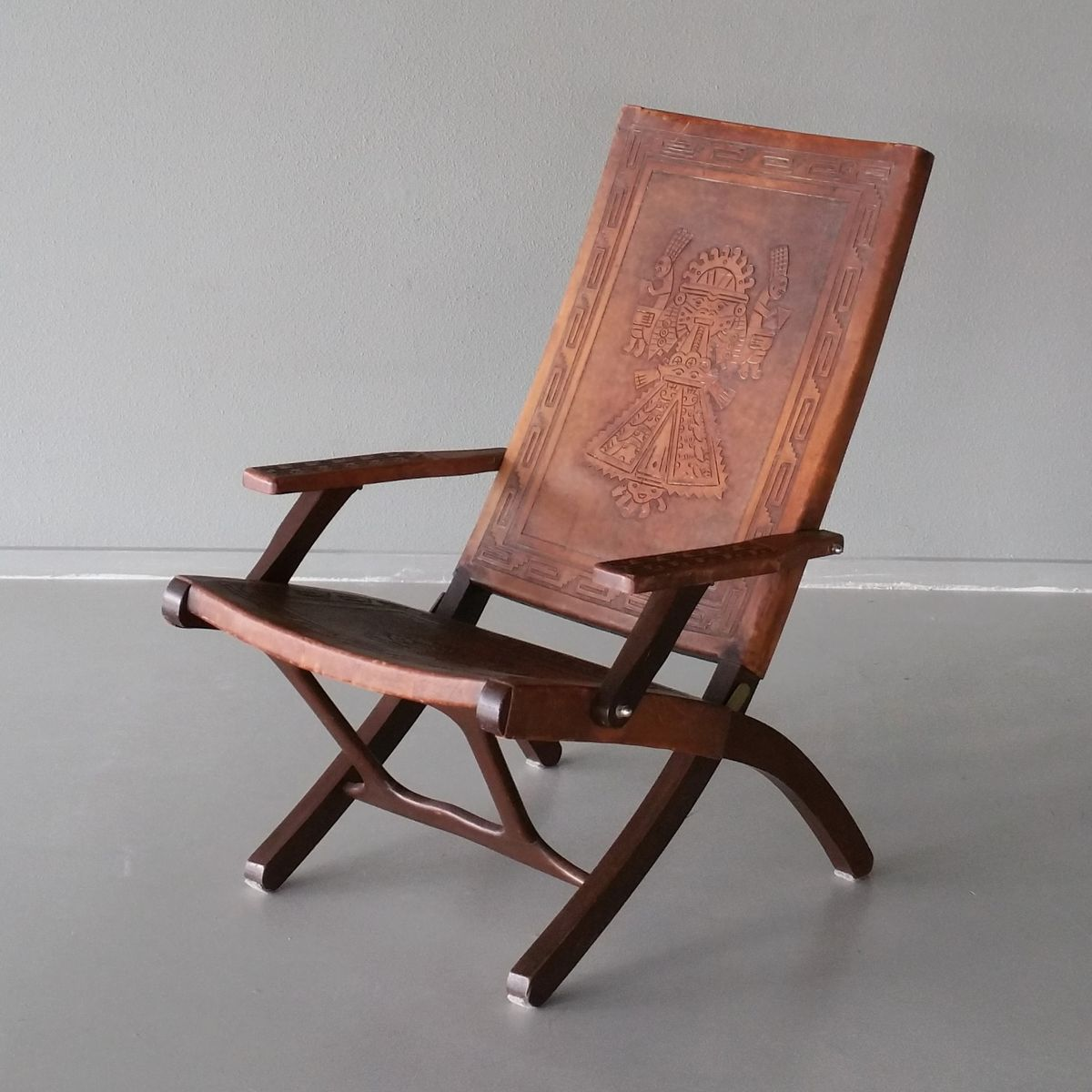 Leather U0026 Wood Folding Chair By Angel Pazmino For Muebles De Estilo, 1960s
