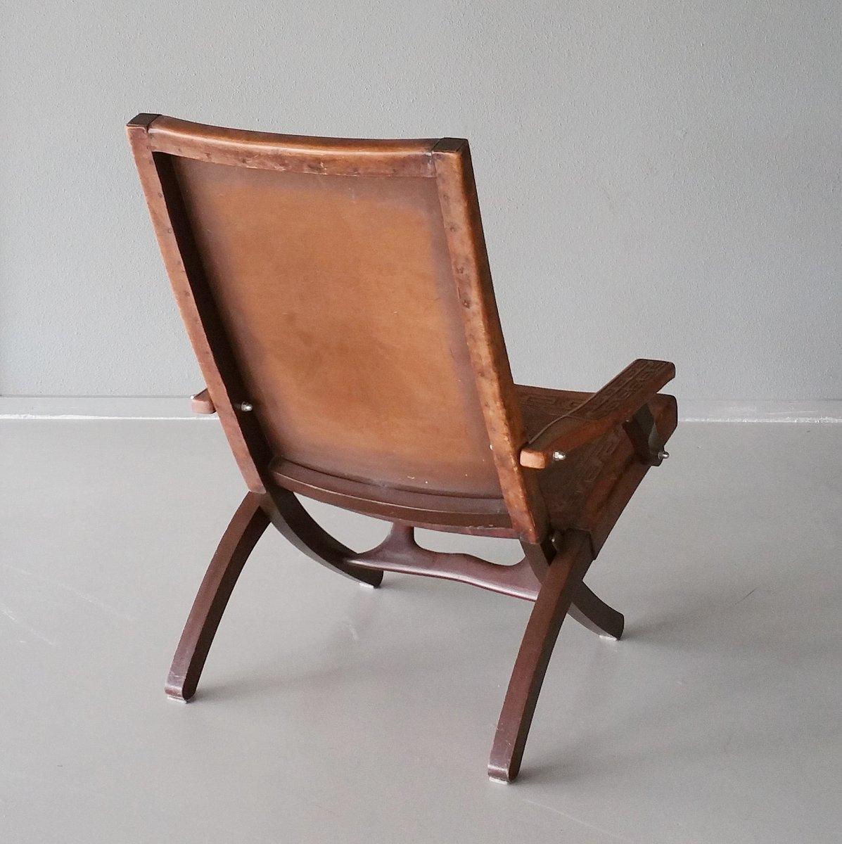 chaise pliante en cuir bois par angel pazmino pour muebles de estilo 1960s en vente sur pamono. Black Bedroom Furniture Sets. Home Design Ideas