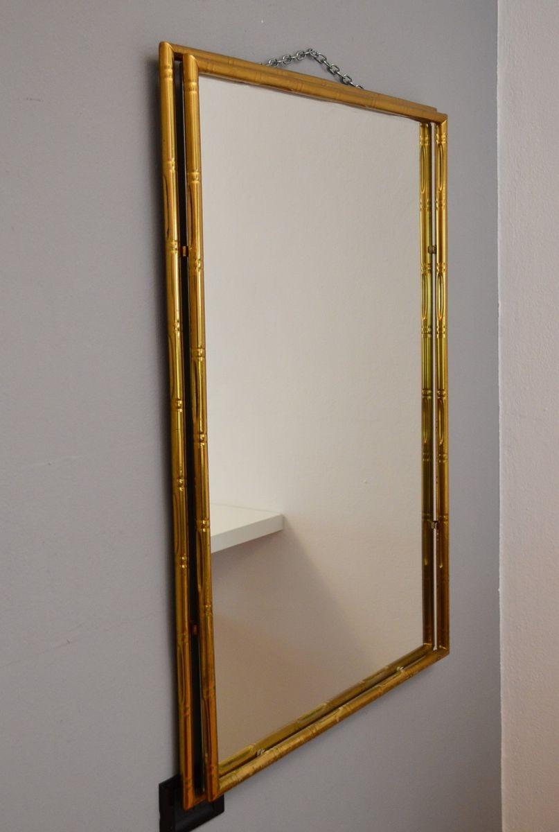 Specchio A Muro In Ottone Italia Anni 39 70 In Vendita Su