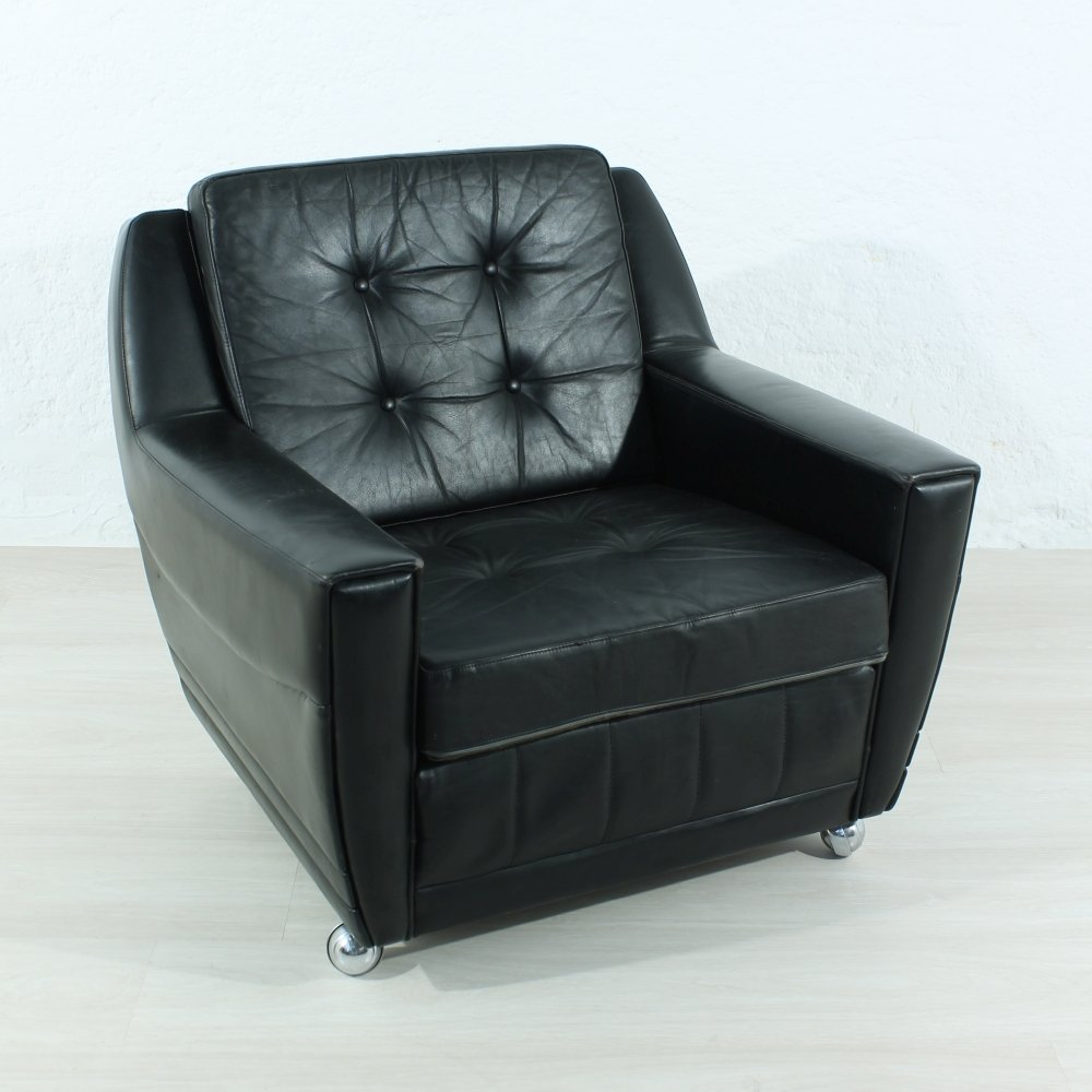 black leather lounge chair 1960s for sale at pamono. Black Bedroom Furniture Sets. Home Design Ideas